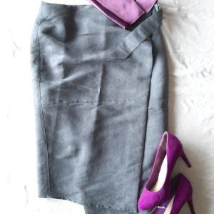 Peter Morrisey Faux Suede Wrap Skirt Size 10